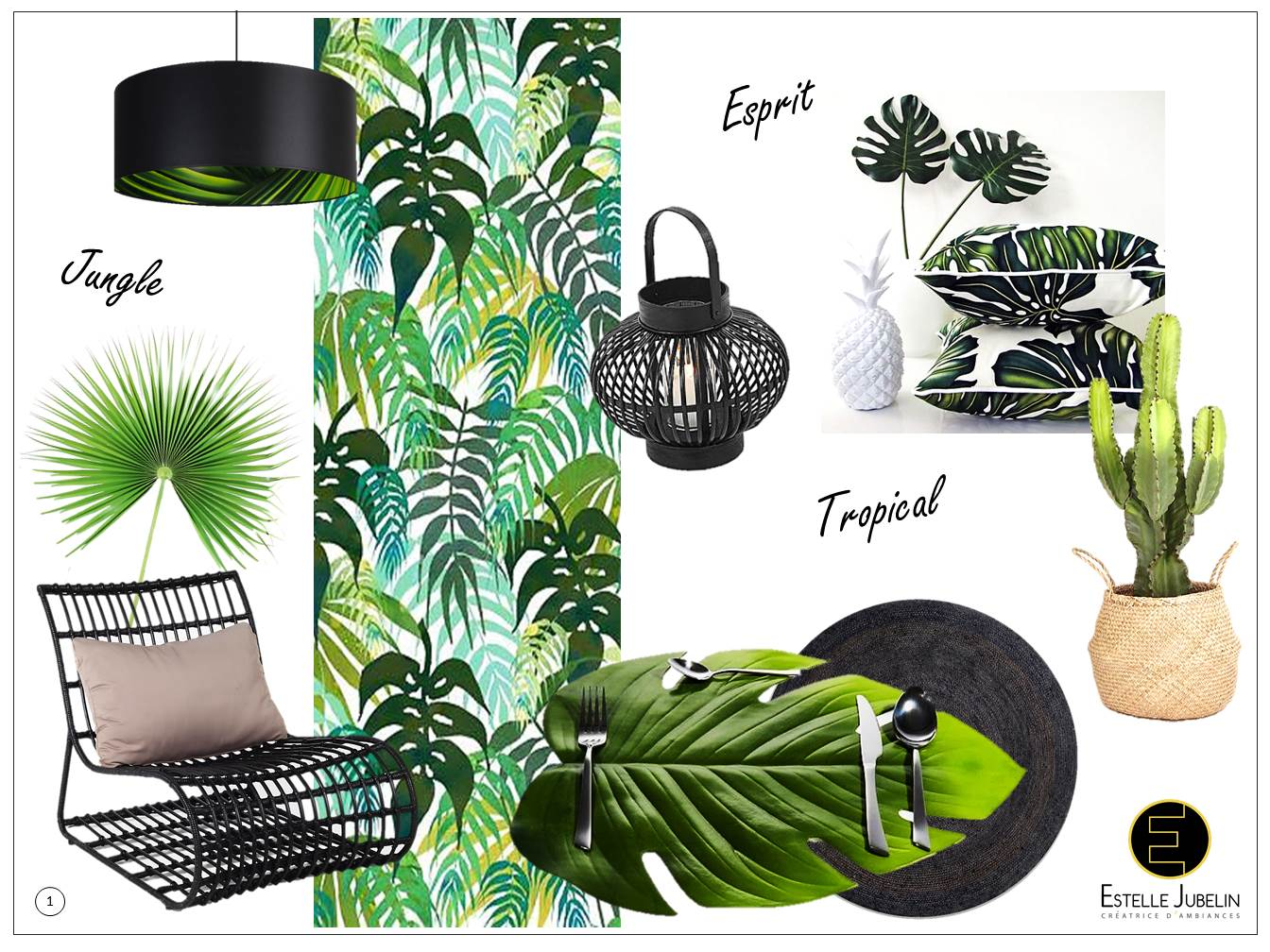 planche tendance decoration tropicale jungle 1 estelle jubelin decoratrice interieur reims. Black Bedroom Furniture Sets. Home Design Ideas